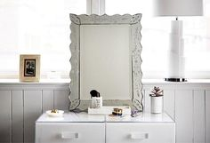Use a Vanity Table with Mirror to Create a Dressing Station!