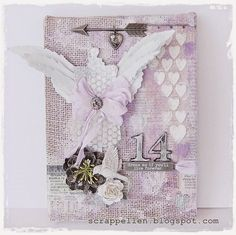 """ScrappEllen: """"Dream as you'll live for ever"""" Altered burlap panel"""