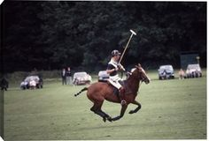 August 1985: Prince Charles playing polo for the 'Diables Blues' at Cowdray Park in Sussex. (Photo by Slim Aarons/Getty Images)