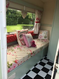 Nice colors!   Vintage Classic Sprite caravan. Cath kidston inspired interior. Shabby chic fabrics. Love all of this. This is on eBay now!