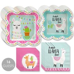 Big Dot of Happiness Whole Llama Fun - Llama Fiesta Baby Shower or Birthday Party Tableware Plates and Napkins - Bundle for 16 - Event & Party Supplies Fun Party Themes, Fiesta Theme Party, Girls Birthday Party Themes, 1st Birthday Girls, Party Ideas, Birthday Ideas, Carnival Birthday, Husband Birthday, Theme Ideas