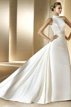 Vintage Halter Chapel Train Satin Elegant Handmade Beading Classy Customized Wedding Dress
