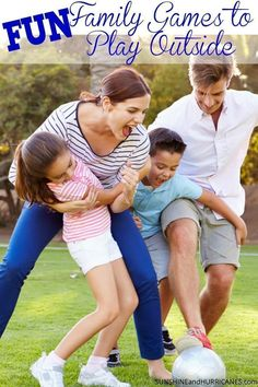 Looking for wholesome family home entertainment to build family bonds and have fun together? fun, wholesome ideas - family playing soccer in park Games To Play Outside, Family Games To Play, Family Activities, Bonding Activities, Therapy Activities, Fun Games, Party Games, Sleepover Games, Group Games