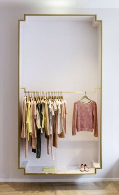 Crisp Closet- exposed closet or dressing room area Design Shop, House Design, Design Design, Rack Design, Nordic Design, Exposed Closet, Clothing Store Design, Clothing Storage, Retail Clothing Racks