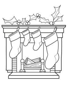 Cheminée. Christmas coloring page