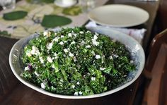 I am a big fan of kale salads and slaws. Kale has a hearty, long-lived texture that doesn't go limp and soggy in the refrigerator, and its meaty taste stands up to the simple yet tangy lemon dressings I prefer. So when I saw this recipe from Kim Severson I promptly bought a bunch of kale and a block of ricotta salata. You should too: This stuff is delicious.