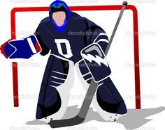 ice hockey player images | Ice hockey player. Goalkeeper . Vector illustration - Stock ...