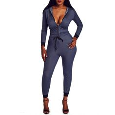Rotita Dark Blue Denim Long Sleeve Hooded Zip Front Jogger Jumpsuit (£18) ❤ liked on Polyvore featuring jumpsuits, navy blue, zip front jumpsuit, long sleeve jumpsuit, white jump suit, white jumpsuit and jump suit