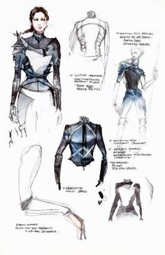 A peek inside Cinna's sketchbook on the eve of the film's DVD release Hunger Games Mockingjay, Hunger Games Catching Fire, Hunger Games Trilogy, Mockingjay Costume, Cinna Hunger Games, Katniss Costume, Katniss Everdeen, Fashion Sketchbook, Fashion Sketches