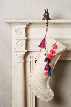 pom pom Anthropologie Christmas stocking - seen over at Heart Handmade