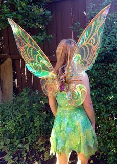 DIY Tutorial: DIY Women Halloween Costumes / DIY Cellophane Tinkerbell Wings - Bead&Cord