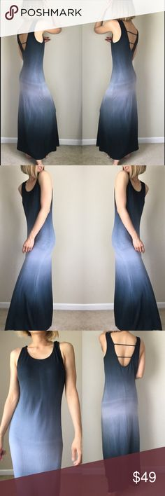 """Ombre mid night sky long dress with line back Ombré midnight sky long dress maxi fit. 95% rayon 5% spandex . L; 55""""bust :18"""" w; 15"""" stretchable . Flat measure in inches. Dresses Maxi"""