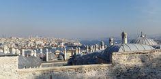 Bosphorus-i kilátás a Süleymaniye dzsámiból Isztambulban