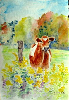 $3.00 Brown Cow I ACEO miniature print of original watercolor painting. $3.00, via Etsy.