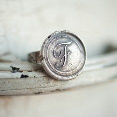 ♕ Horsefeathers Wax Seal Initial Ring