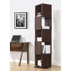 Have to have it. Baxton Studio Ogden 5-Level Rotating Modern Bookshelf - Dark Brown - $249 @hayneedle