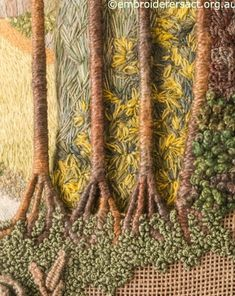 Embroidery Flower Detail of trees from Fountain Abbey embroidery Needlepoint Stitches, Hand Embroidery Stitches, Needlepoint Canvases, Embroidery Techniques, Embroidery Applique, Cross Stitch Embroidery, Embroidery Designs, Needlework, Thread Painting