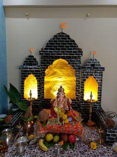 Ganpati Decoration Theme, Gauri Decoration, Ganapati Decoration, Housewarming Decorations, Diwali Decorations, Indian Wedding Decorations, Festival Decorations, Ganesh Chaturthi Decoration, Crochet Furniture