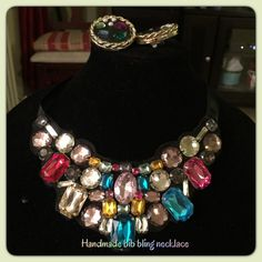 Vintage handmade bling bib & clip earrings Vintage handmade bling large stone bib necklaces & clip large bling earrings, may shows signs of wear, can be worn different lengths Vintage Jewelry