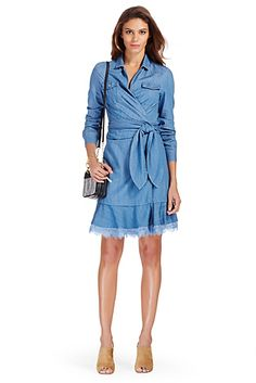 DVF Aya Denim Wrap Dress In Light Indigo
