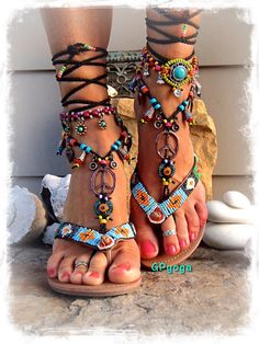 Hippie Boho PEACE sign BAREFOOT sandals Bikini Ibiza Sun by GPyoga