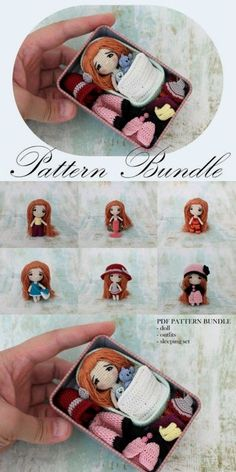 Tiny Crochet Doll Pattern Bundle Love this sweet little amigurumi doll crochet pattern. Would make a great handmade gift idea for a little girl! This is the cutest little doll pattern! I get so excited when I stumble upon adorable amigurumi that I ca Amigurumi Doll, Amigurumi Patterns, Knitting Patterns, Crochet Patterns, Crochet Ideas, Crochet Gift Ideas For Women, Knitted Doll Patterns, Knitting Ideas, Crochet Doll Pattern