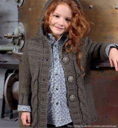 Вязанное пальто для девочки фильдар