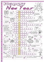 English worksheet: New Year crossword