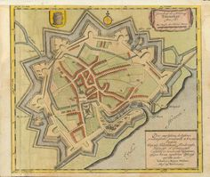 """Toenning. - """"Grundtriss der Fehstung Toenninge Anno 1651"""" Toenning is a small town in North Friesland in the State of Schleswig-Holstein, northern Germany. We are looking in a bird's eye view onto the town and its fortifications in the year 1651. Hand-colored copper etching Published in """"New Landesbeschreibung"""", the Sc"""