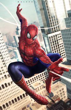 "extraordinarycomics: "" Spider-Man by Alex Malveda. """