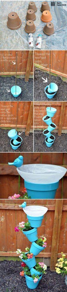 pots de fleurs oiseau fontaine asymétrique bricolage