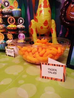 Tiger tails...zoo themed party snacks