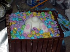 LOL Love this one. They used Kit Kats on the side too! #easter #cake