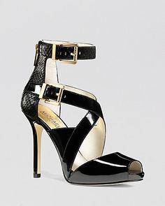 MICHAEL Michael Kors Peep Toe Platform Sandals - Tamara High Heel