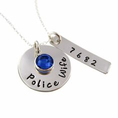 Police Wife / Army Wife/ Deputy Wife / Sterling Silver Hand Stamped Necklace   byHannahDesign