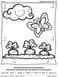 Spring Into Subtraction ~ Color By The Code Math Puzzles To Practice Number Recognition And Basic Subtractions Skills ~This Unit Is Aligned To The CCSS. Each Page Has The Specific CCSS Listed.~ This set includes 4 Spring themed math puzzles to practice math skills. Perfect for Kindergarten and First Grade Remedial Math. $