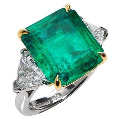 11.39 Carat GIA Emerald Diamond Gold Platinum Ring | See more rare vintage Three-Stone Rings at https://www.1stdibs.com/jewelry/rings/three-stone-rings