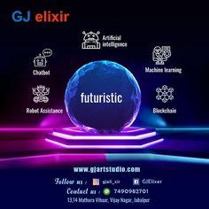 1.Artificial intelligence 2.Chat bot 3.Robot Assistance 4.Machine learning 5.Blockchain Futuristic Robot, Artificial Intelligence, Machine Learning, Blockchain
