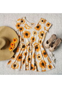 Sunflowers Print Skater Dress - @LookBookStore
