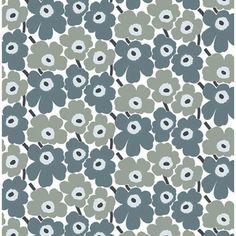 Marimekko Grey Pieni Unikko 2 Fabric - Click to enlarge