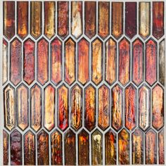 Komorebi Bonfire Wood Mosaic, Glass Mosaic Tiles, Wall Tiles, Mosaic Wall, Splashback Tiles, Kitchen Backsplash, Kitchen Island, Mediterranean Tile, Glass Installation