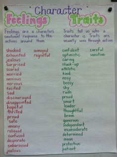 Anchor Chart Character Traits- This chart is designed to help students differentiate character traits with character feelings! (image only)