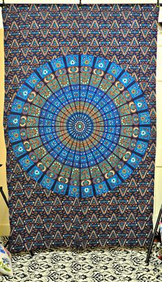 Hippie Mandala Indian Tapestry, blue Cotton Mandala Bedspread In blue, Bohemian Screen Printed Bed Cover, tapestry, Block Printed Bed Sheet