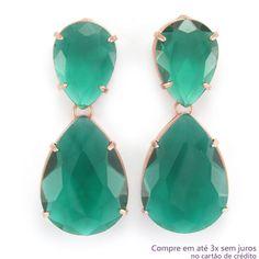 Brinco com Pedra de Vidro Gota Verde Folheado a Ouro Rosé