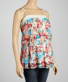 Another great find on #zulily! Blue Floral Layered Maternity Tank - Women by QT Maternity #zulilyfinds
