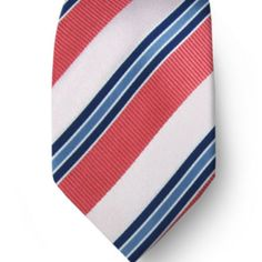 Tie for navy and coral wedding....solves the issue of too many blue and white stripes with the diagonal and the coral.