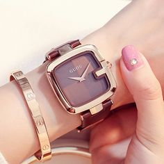 Cheap watch at, Buy Quality watch brand directly from China watch brand women Suppliers: GUOU Women's Watches Reloj Mujer Ladies Watches For Women Watch Women Luxury Montre Femme Top Brand Luxury Square Clock Saat Trendy Watches, Cheap Watches, Elegant Watches, Beautiful Watches, Watches For Men, Women's Watches, Ladies Watches, Watches Online, Luxury Watches Women