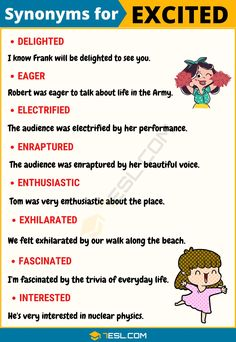 EXCITED Synonym: Useful List of 19 Synonyms for Excited in English - 7 E S L Excited Synonym! This article provides a list of commonly used synonyms for excited in English with useful example sentences and ESL pictures. Learn these synon English Speaking Skills, Teaching English Grammar, Learn English Words, English Phrases, English Language Learning, English Writing Skills, English Lessons, English English, English Tips