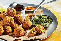 Crumbed fish balls with green sambal - Serve as a starter or part of a main mea. Crumbed fish balls with green sambal – Serve as a starter or part of a main meal. Use a fil Small Food Processor, Food Processor Recipes, Sambal Recipe, Spanish Mackerel, Curry Night, India Food, Fried Fish, Indian Food Recipes, Fish Recipes