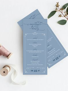 ♥️ DUSTY BLUE MENUS  This modern menu is a perfect match for your romantic wedding. The design features calligraphy-inspired hand-lettered fonts and delicate ornamental frames. These are shown in a trendy color scheme of dusty blue and navy, but we can customize these to match your unique color scheme. Order now to makes these beautiful wedding menus a part of your unique love story.    • 4 x 9.25      ♥️ PACKAGES  SIGNATURE: • 120# smooth white matte card stock  PREMIUM: • 100# text
